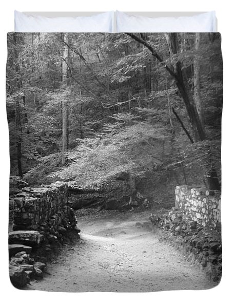Path In Black And White Duvet Cover