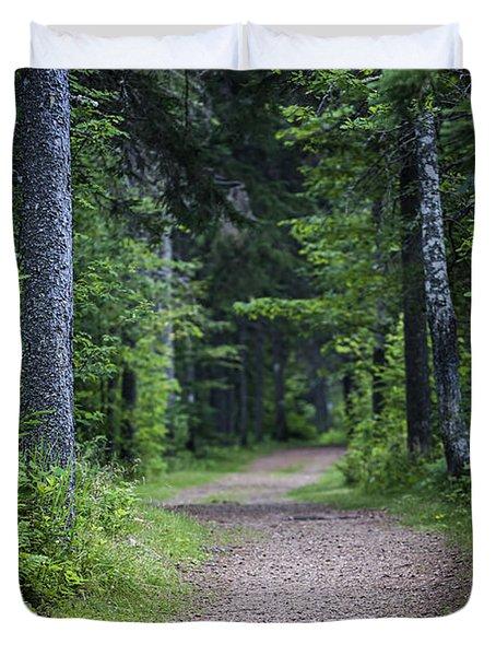 Path In Dark Forest Duvet Cover