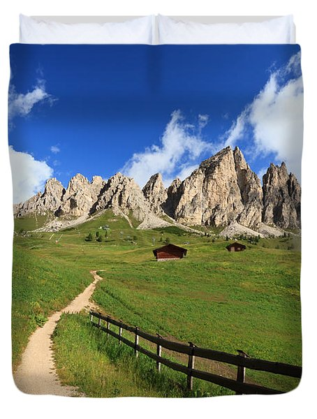 Duvet Cover featuring the photograph path in Gardena pass by Antonio Scarpi