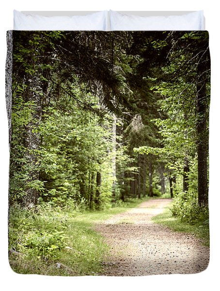 Path In Green Forest Duvet Cover