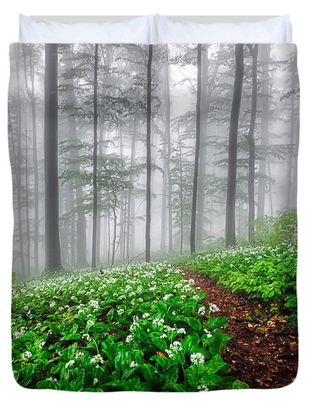 Path In The Mist Duvet Cover by Evgeni Dinev