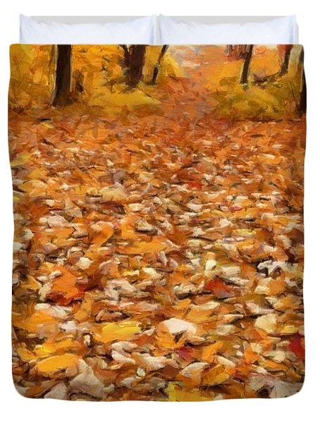 Path Of Fallen Leaves Duvet Cover
