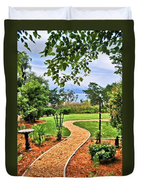 Garden Path To Wild Marsh Duvet Cover
