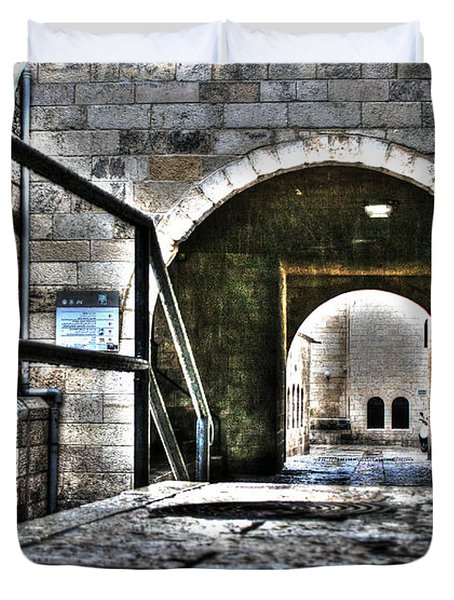 Duvet Cover featuring the photograph Pathway Through Old Jerusalem by Doc Braham
