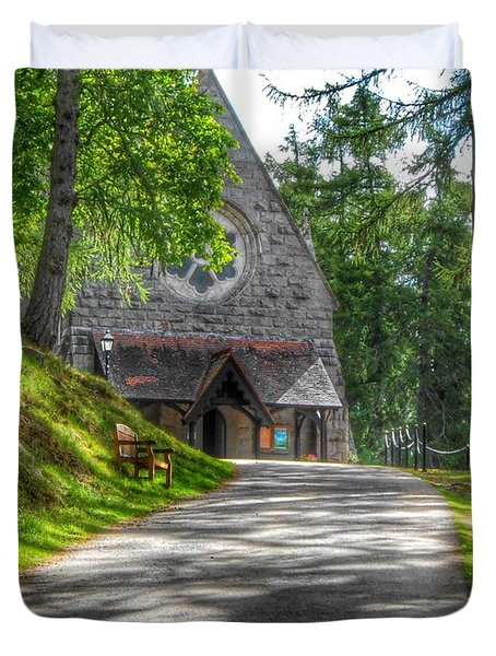 Pathway To Crathie Church Duvet Cover