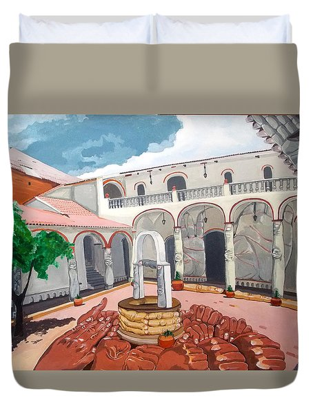 Duvet Cover featuring the painting Patio Colonial by Lazaro Hurtado