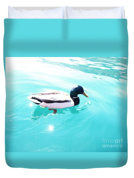 Duvet Cover featuring the photograph Pato by Vanessa Palomino
