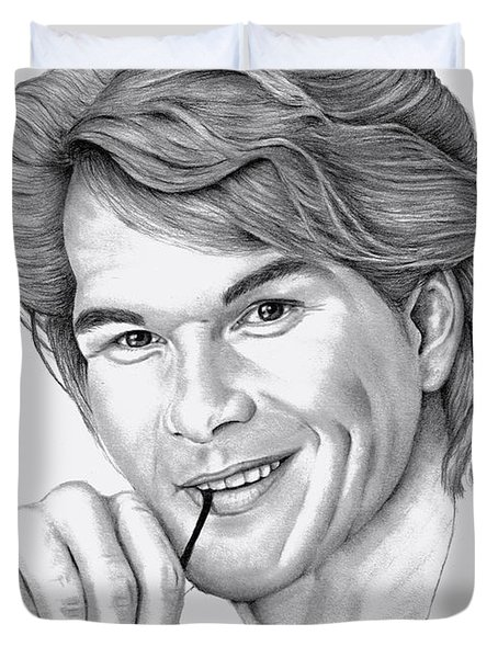 Duvet Cover featuring the drawing Patrick Swayze by Patricia Hiltz