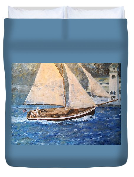 Patriot At Catalina Lighthouse Duvet Cover