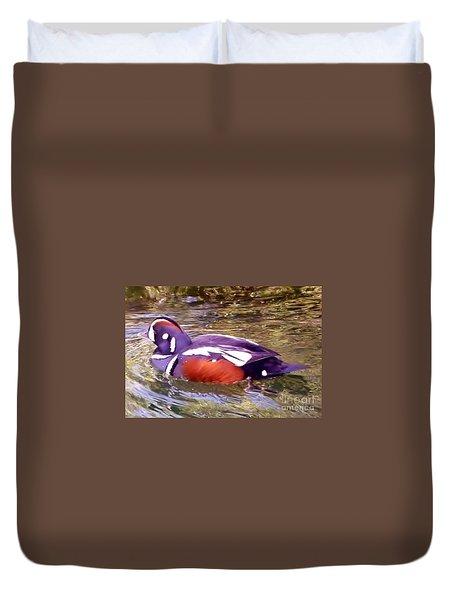 Duvet Cover featuring the photograph Patriot Duck by Susan Garren