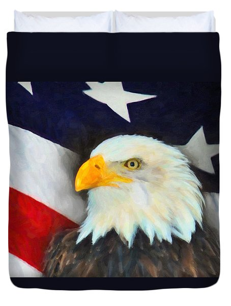Patriotic American Flag And Eagle Duvet Cover