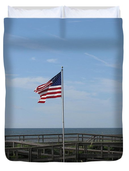 Patriotic Beach View Duvet Cover by Ellen Meakin