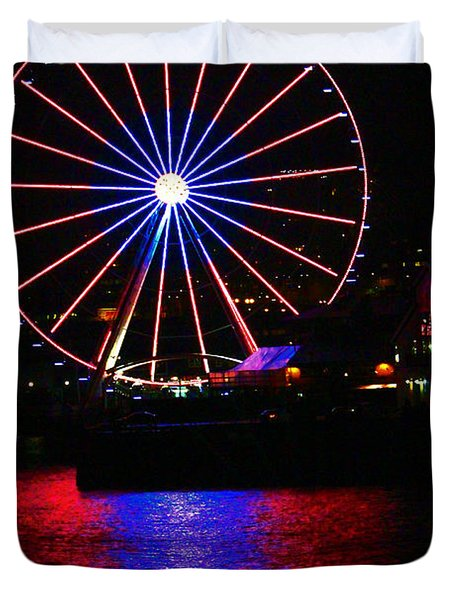 Patriotic Ferris Wheel Duvet Cover by Kym Backland