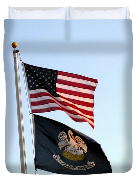 Duvet Cover featuring the photograph Patriotic Flags by Joseph Baril
