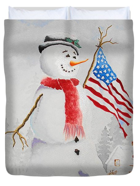 Patriotic Snowman Duvet Cover