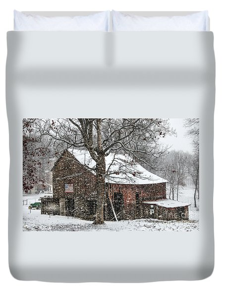 Patriotic Tobacco Barn Duvet Cover by Debbie Green