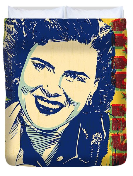 Patsy Cline Pop Art Duvet Cover by Jim Zahniser