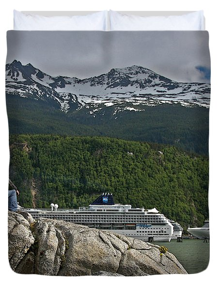 Pause In Wonder At Cruise Ships In Alaska Duvet Cover by John Haldane