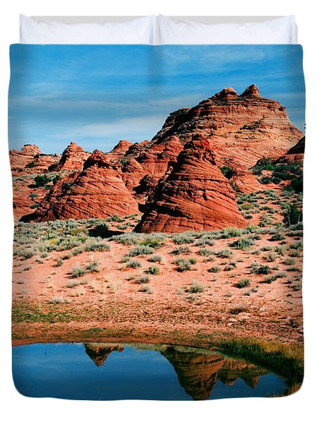 Paw Hole Reflections Duvet Cover by Mike  Dawson