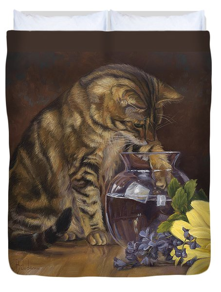 Paw In The Vase Duvet Cover