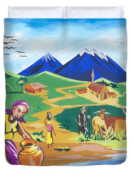 Duvet Cover featuring the painting Paysage Du Nord Du Rwanda by Emmanuel Baliyanga