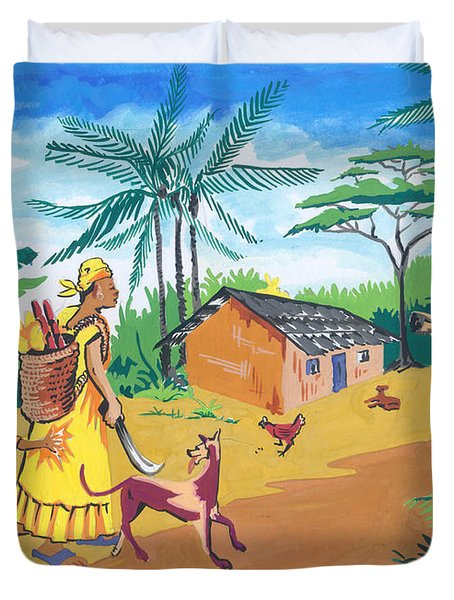 Duvet Cover featuring the painting Paysage Du Sud Du Cameroon by Emmanuel Baliyanga