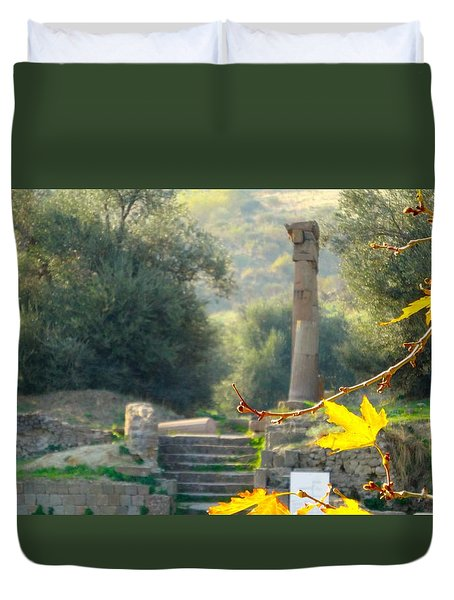 Duvet Cover featuring the photograph Peace At Asclepion by Alan Lakin