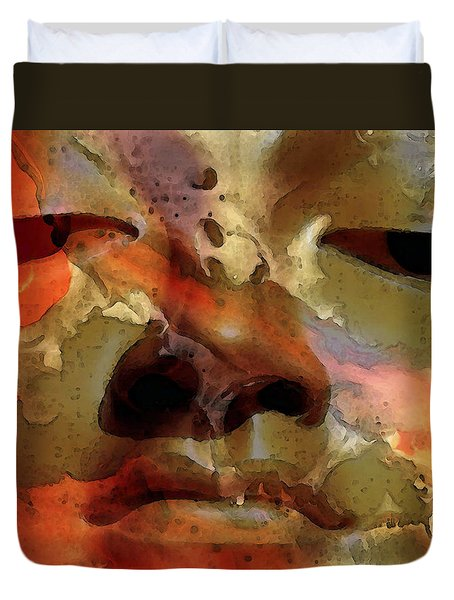 Peace Buddha - Spiritual Art Duvet Cover by Sharon Cummings