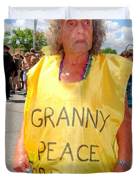 Duvet Cover featuring the photograph Peace Granny by Ed Weidman