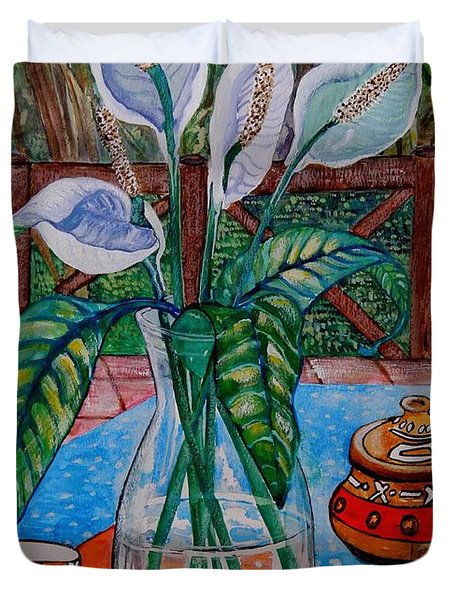 Peace Lilies On The Patio Duvet Cover by Caroline Street
