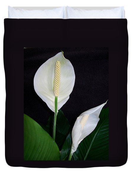 Duvet Cover featuring the photograph Peace Lilies by Sharon Duguay