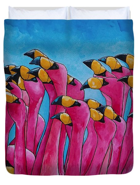 Peace Love And Flamingos Duvet Cover