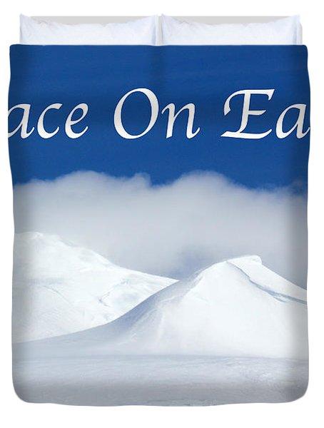Peace On Earth Card Duvet Cover