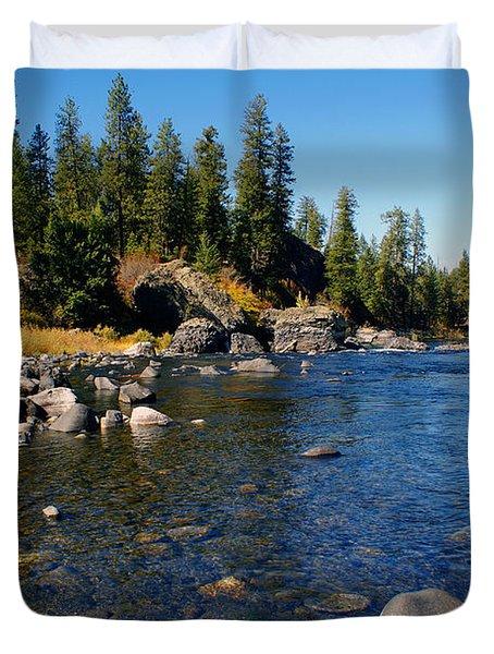 Peace On The Spokane River 2 Duvet Cover