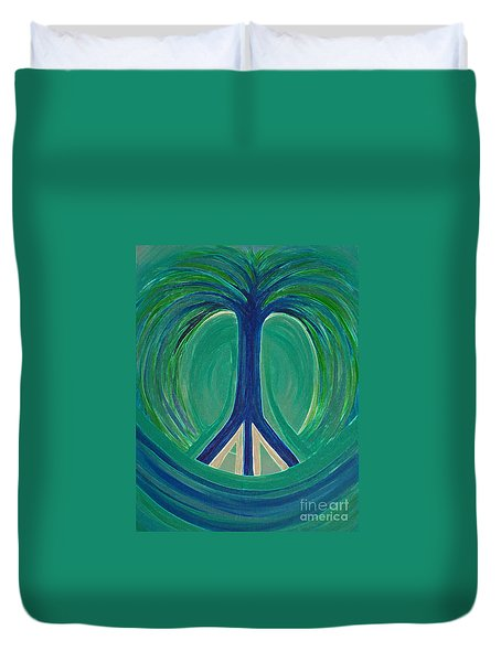 Peace Tree By Jrr Duvet Cover by First Star Art