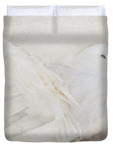 Peaceful Existence White On White Duvet Cover by Barbara McMahon