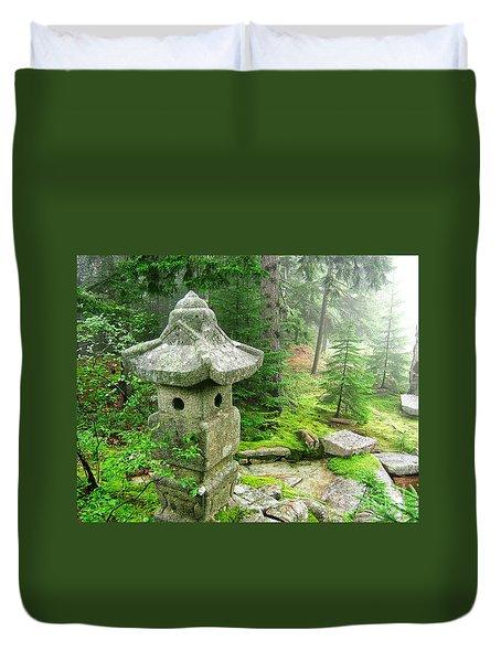 Peaceful Japanese Garden On Mount Desert Island Duvet Cover by Edward Fielding