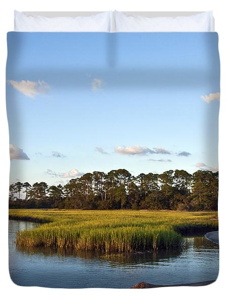 Duvet Cover featuring the photograph Peaceful Marsh by Paula Porterfield-Izzo