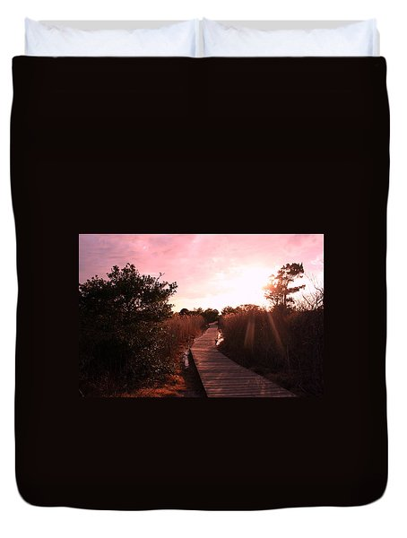 Duvet Cover featuring the photograph Peaceful Path by Karen Silvestri
