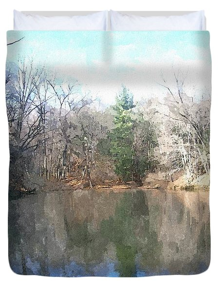 Duvet Cover featuring the painting Peaceful Retreat 2 by Sara  Raber