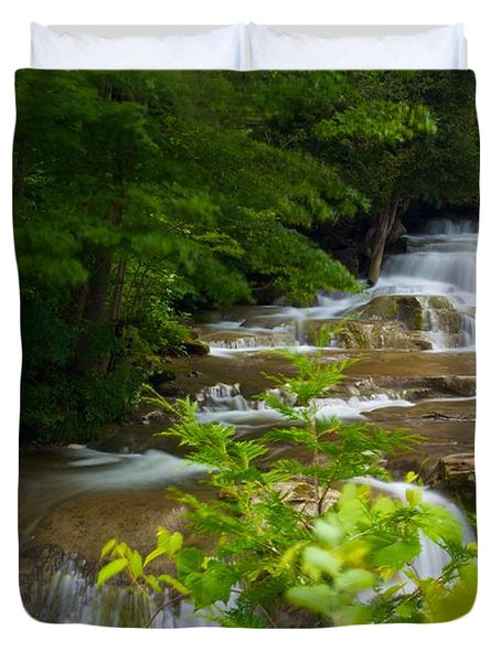 Duvet Cover featuring the photograph Peaceful Stockbridge Falls  by Dave Files