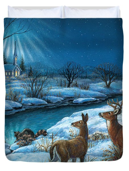 Peaceful Winters Night Duvet Cover