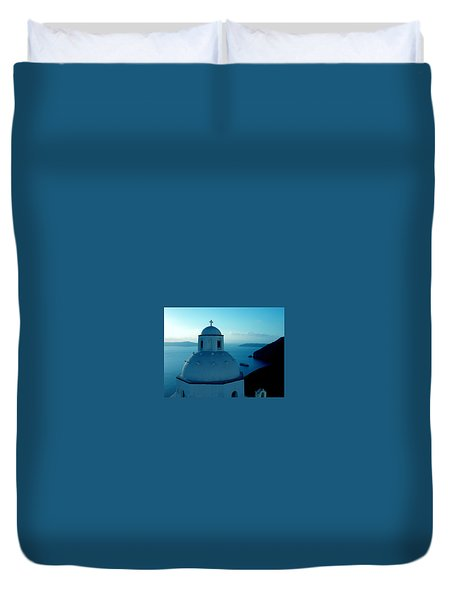 Peacefull Santorini Greek Island  Duvet Cover
