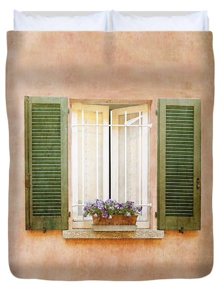 Duvet Cover featuring the photograph Peach And Green Window In Venice by Brooke T Ryan