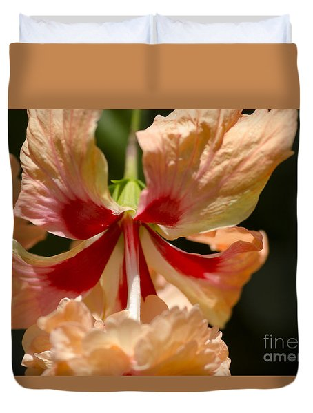 Peach And Red Flower Duvet Cover