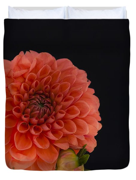 Peach Dahlia Duvet Cover