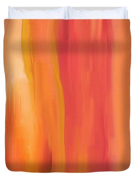 Peach Floral Duvet Cover by Lourry Legarde