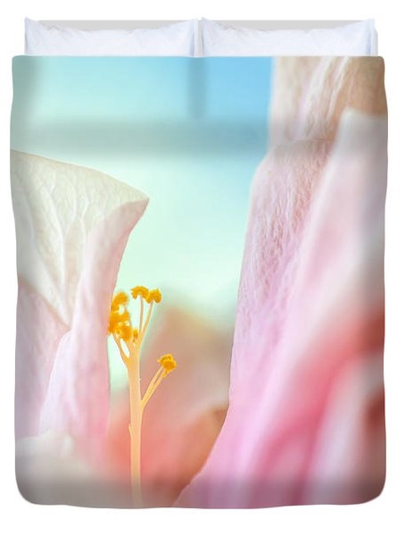 Peach Hibiscus. Macro Duvet Cover by Jenny Rainbow