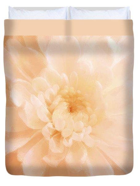 Peach Mum Luminous Painted Blossom Duvet Cover