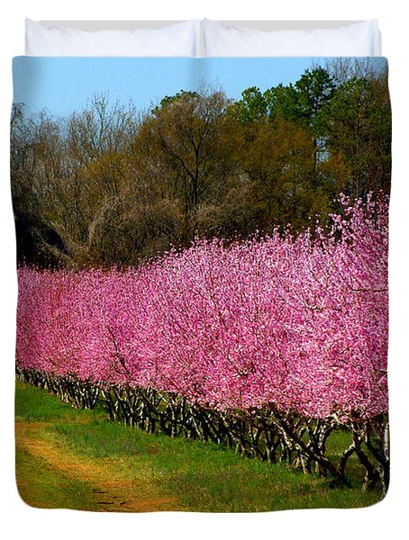 Duvet Cover featuring the photograph Peach Orchard In Carolina by Lydia Holly